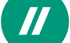 logo schrijven taalpunt groen met 2 witte slash tekens