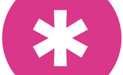 logo wablieftkrant taalpunt roze bol met witte asterix