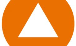 logo woordenboeken taalpunt oranje bol met witte driehoek